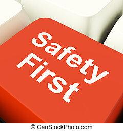 számítógép, kiállítás, kockáztat, oltalom, figyelmeztet, kulcs, biztonság első