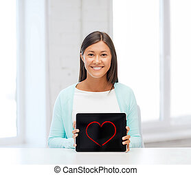 számítógép, mosolyog woman, tabletta