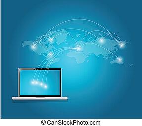 számítógép, nemzetközi, technológia, összeköttetés
