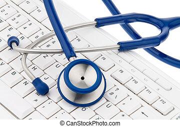 számítógép, physicians., azt, stethoscope., billentyűzet