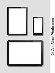 számítógép, smartphone, digital tabletta, mockup