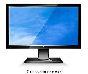 számítógép, széles, lapos elrejt monitor