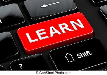 számítógép, tanul, háttér, billentyűzet