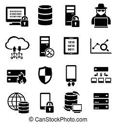 számítógép, technológia, adatok, ikonok