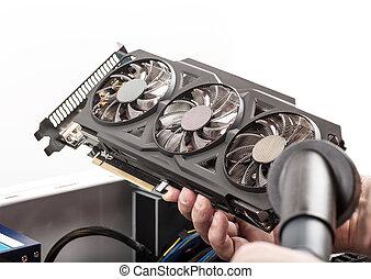 számítógép, video, takarítás, kártya