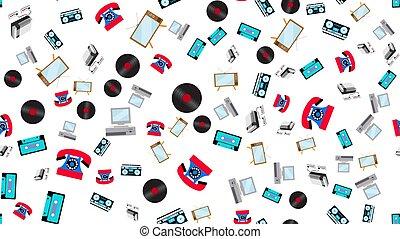 számítógépek, televízió, irattárosok, öreg, irattár, telefon...