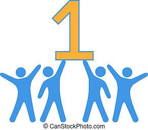 szám 1, befog, emberek, ünnepel, nagy, győz