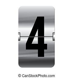 szám, flipboard, -, 4, ezüst