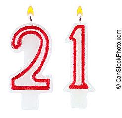 szám, gyertya, elszigetelt, egy, születésnap, húsz