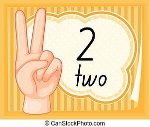 szám, kéz, két, gesztus