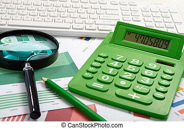 számológép, és, nagyítóüveg