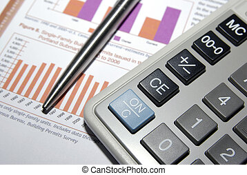 számológép, acél, megír and, anyagi analysis, report.