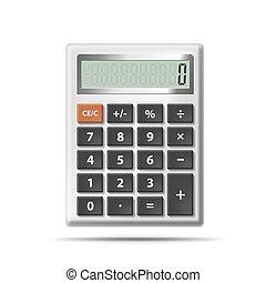 számológép, vektor, elszigetelt, háttér, fehér