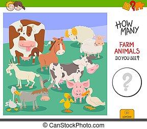 számol, tanya, játék, állatok, elfoglaltság