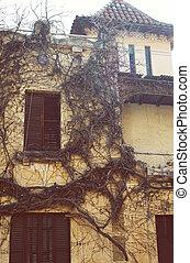 száraz, öreg, épület, gumitalpú cipő, külső, épülethomlokzat