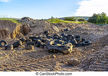 száraz, gumi, öreg, autógumi, gumiabroncsok, sín, fekete, letesz, föld