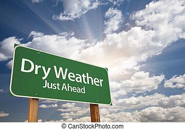 száraz, időjárás, zöld, út cégtábla