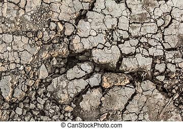 száraz, meddő, repedt, felszín, talaj