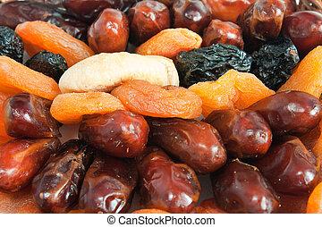 száraz, szilva, -, sárgabarack, elegyít, gyümölcs, dátum