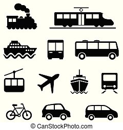 szárazföld szállítás, ikonok, levegő, tenger, közönség