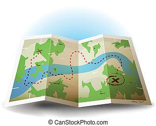 szárazföld térkép, grunge, karikatúra, ikon