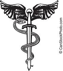 szárnyas, kígyó, kard