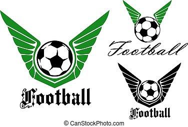 szárnyas, labdarúgás, vagy, futball, embléma