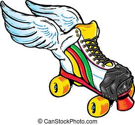 szárnyas, mód, korcsolyázik, retro, hajcsavaró