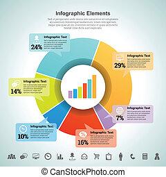 százalék, infographic, pite, elem