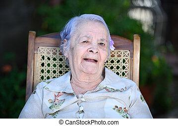 szék, boldog, nagyanyó