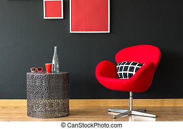 szék, képben látható, fekete, fal