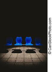 szék, közönség, dark.