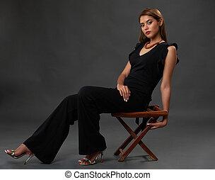 szék, nő, ül