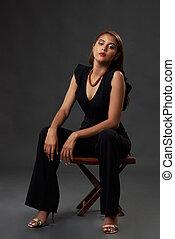 szék, nő, latina, ül