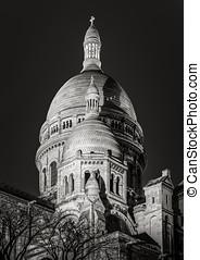 székesegyház, &, párizs, herc, fekete, montmartre, sacre, fehér, éjszaka