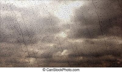 széles, esős, elhomályosul, repülés, gyorsan, át, megrohamoz, ablak, szög, kilátás