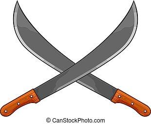 széles pengéjű kés, vektor, keresztbe tett, két, ábra