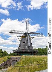 szélmalom, ősi, természetjáró attraction, németország,...