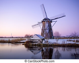 szélmalom, napkelte, alatt, hollandia