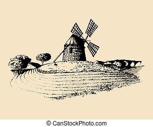 szélmalom, skicc, fields., illustration., poszter, vidéki táj, tengertől távol eső, kéz, falusias, vektor, vidéki parkosít, card.