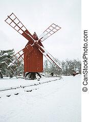 szélmalom, táj, alatt, stockholm, svédország