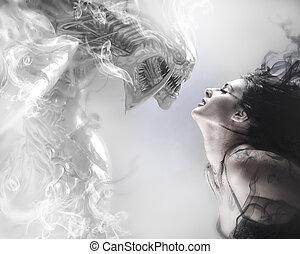 szépség, és, a, állat, gyönyörű woman, csókolózás, egy,...
