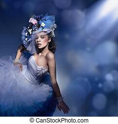 szépség, barna nő, alatt, white ruha