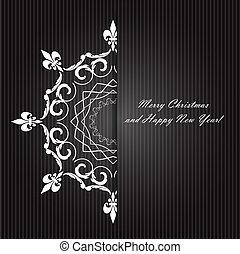 szépség, elvont, háttér., vektor, év, új, karácsony