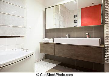 szépség, fürdőszoba, alatt, modern, mód