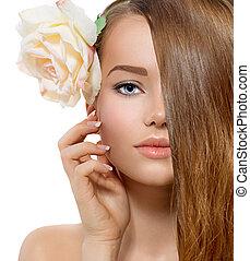 szépség, girl., gyönyörű, formál, noha, rózsa, virág, megható, neki, arc