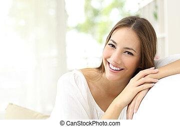 szépség, nő, noha, fehér, mosoly, otthon
