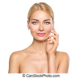 szépség, nő, portrait., gyönyörű, ásványvízforrás, leány, megható, neki, arc