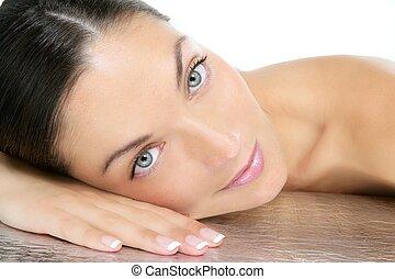 szépség, portré, közül, blue szem, barna nő