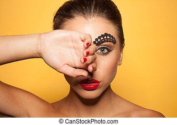 szépség, portré, közül, egy, nő, fedő, a, szem